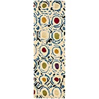 Safavieh Soho Collection SOH828A Handmade Modern Abstract Ivory and Multi Premium Wool Runner (26 x 10)