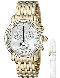 Marsala Womens Diamond Chronograph Swiss Quartz With Additional Leather Strap Gold Tone Stainless Steel Bracelet Watch, (Model: 9802)