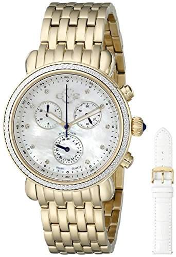 GV2 by Gevril Marsala Womens Diamond Chronograph Swiss Quartz With Additional Leather Strap Gold Tone Stainless Steel Bracelet Watch, (Model: - Bracelet Diamond Chronograph