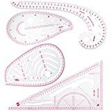 NABLUE 4 Style Sew French Curve Metric Ruler - Measure Plastic Fashion Ruler Set for Sewing Dressmaking Pattern Design Bendable Drawing Template DIY Clothing