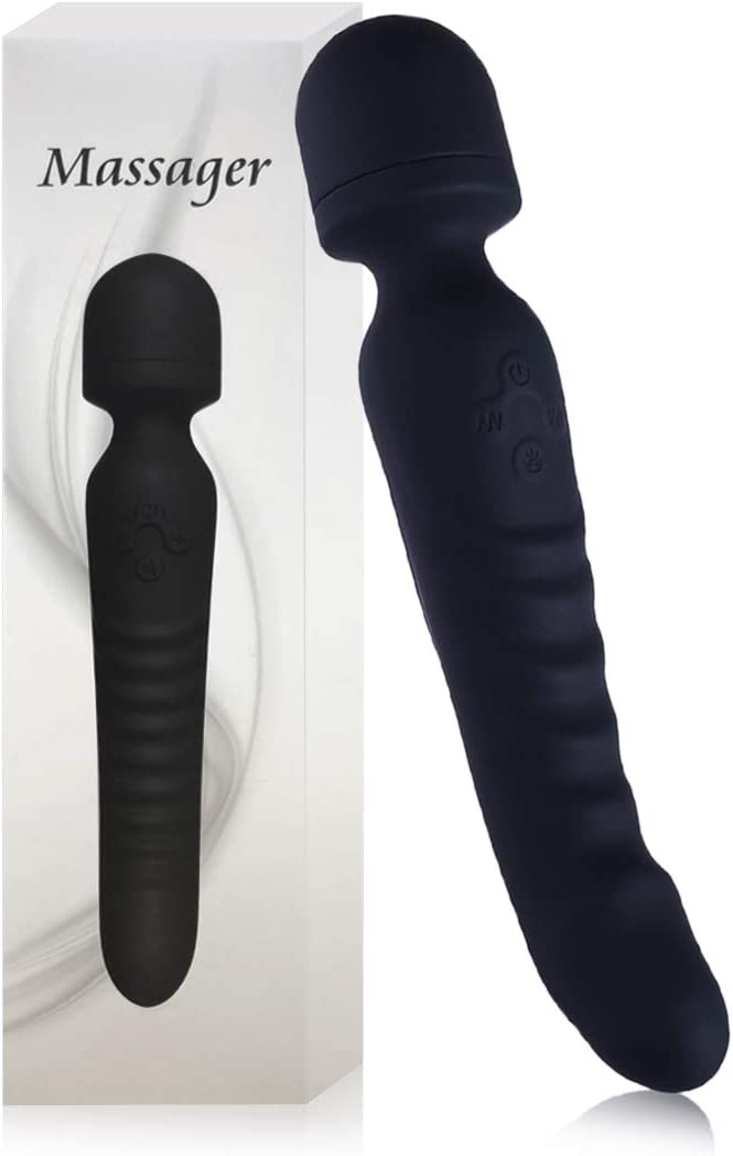 Handheld Wand Massager with Heating Mode - Tight and Sore Muscles Relief Massager, Alleviating Shoulder, Arms, Back, Legs, Or Muscle Tension - Body Therapeutic, 100% Waterproof and Quiet. (Black)