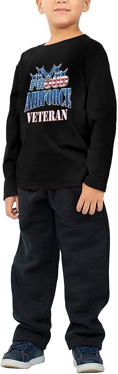 Proud Air Force Veteran USA Military Patriotic Childrens Long Sleeve T-Shirt Boys Cotton Tee Tops
