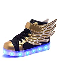 Kids 11 Colors Wings Velcro LED Light up Flashing Sneakers Flashing Shoes for Boys Girls