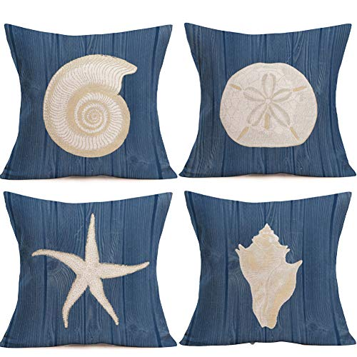 YANGYULU Pack of 4 Decorative Blue Ocean Theme Throw Pillow Covers Cotton Linen Cushion Cover Pillowcase for Sofa Car Office 18X18 Inch (Nautilus/Urchin/Starfish/Whelk)