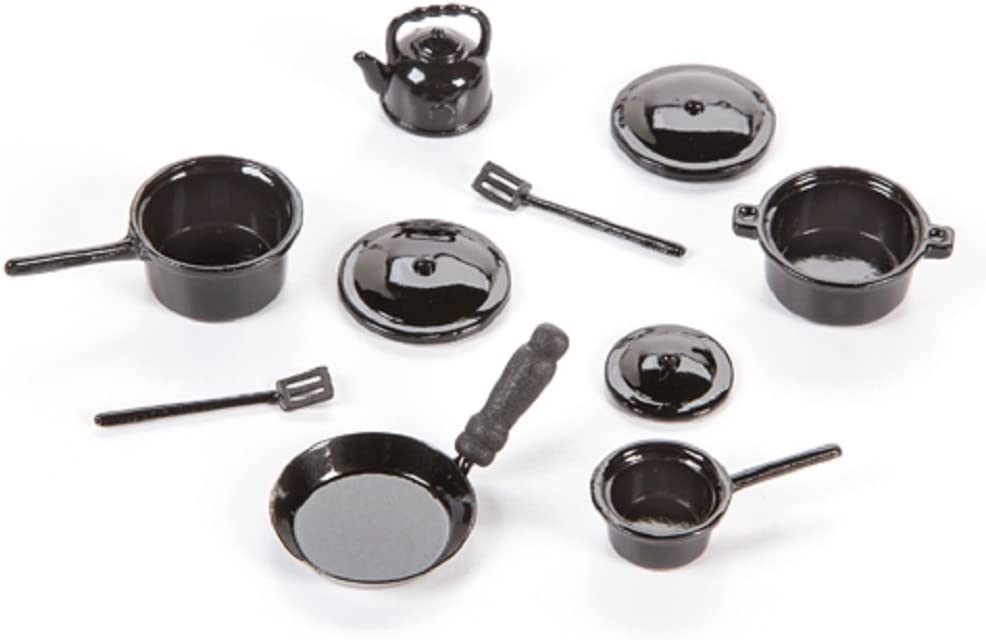 Black Hemore 3pcs Doll House Miniature Metal Frying Pans Cooking Pot Cookware Kitchen Accessory