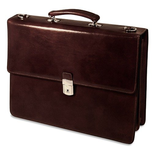Leather Triple Gusset Flap - Jack Georges Sienna Triple Leather Briefcase w/Flap Over Gusset in Cherry