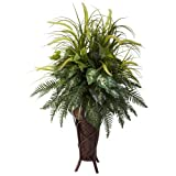 Nearly Natural 6725 Mixed Greens and Cattails Plant with Stand Planter, Green