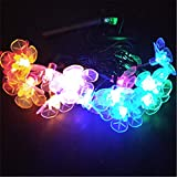 BGFHDSD LED Solar Lamp Fairy String Light 7M Peach Flower Outdoor Decoration Holiday Lights Garden Christmas Tree Lawn Landscape RGB 7m 50 Flowers