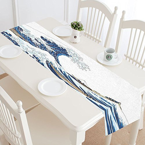 InterestPrint Japanese Ocean Wave Sea Water Polyester Table Runner Placemat 16 x 72 inch, Big Wave Table Cloth for Office Kitchen Dining Wedding Party Home Decor by InterestPrint