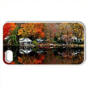 Autumn Lakeside - Case Cover for iPhone 4 and 4s (Lakes Series, Watercolor style, White)