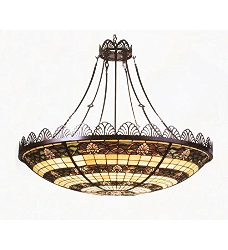 Meyda Tiffany Custom Lighting 79899 Shell and Ribbon 4-Light Pendant, Cafe Noir Finish with Beige, Green and Beige Art (Cottage Stained Glass Chandelier)