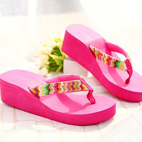 Ularma 2016 Verano playa de sandalias de plataforma cuña plana parche Flip Flops zapatillas de Dama rosa roja