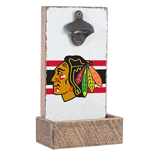 NHL  Chicago Blackhawks, White Background, Team Logo Bottle Opener By Rustic Marlin Designs,  7