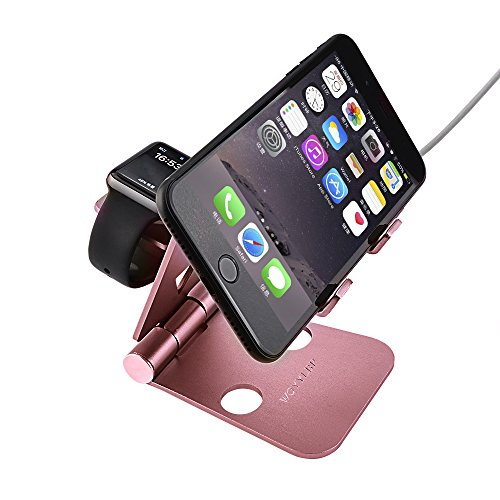 Iphone charge stand,Apple Watch Stand WOYYLBP Multifunction Charging Stand for all Android Smartphone and iphone, Iphone Charger Dock Station for iWatch/iPhone 7/6 Plus/6/iPad Mini/iPod. (Rose Gloden)