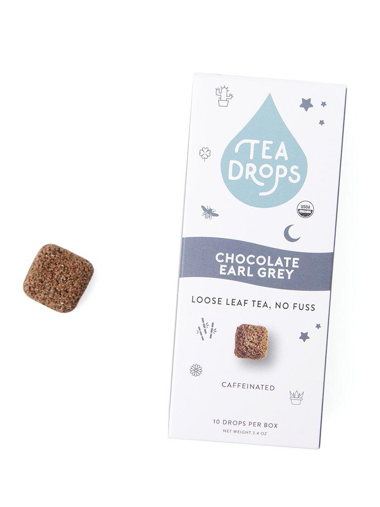 Tea Drops Organic Chocolate Earl Grey Tea, 10 Servings Per Box, Perfect as an After Dinner Dessert Tea, Caffeinated