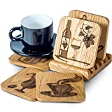 Drink Coasters with Holder - Set of 5 Wooden Bar Coasters for Glasses - Prevent Furniture Damage, Fit any Size of Glassware