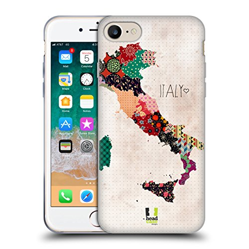 Head Case Designs Italy Patterned Maps Soft Gel Case Compatible for iPhone 7 / iPhone 8