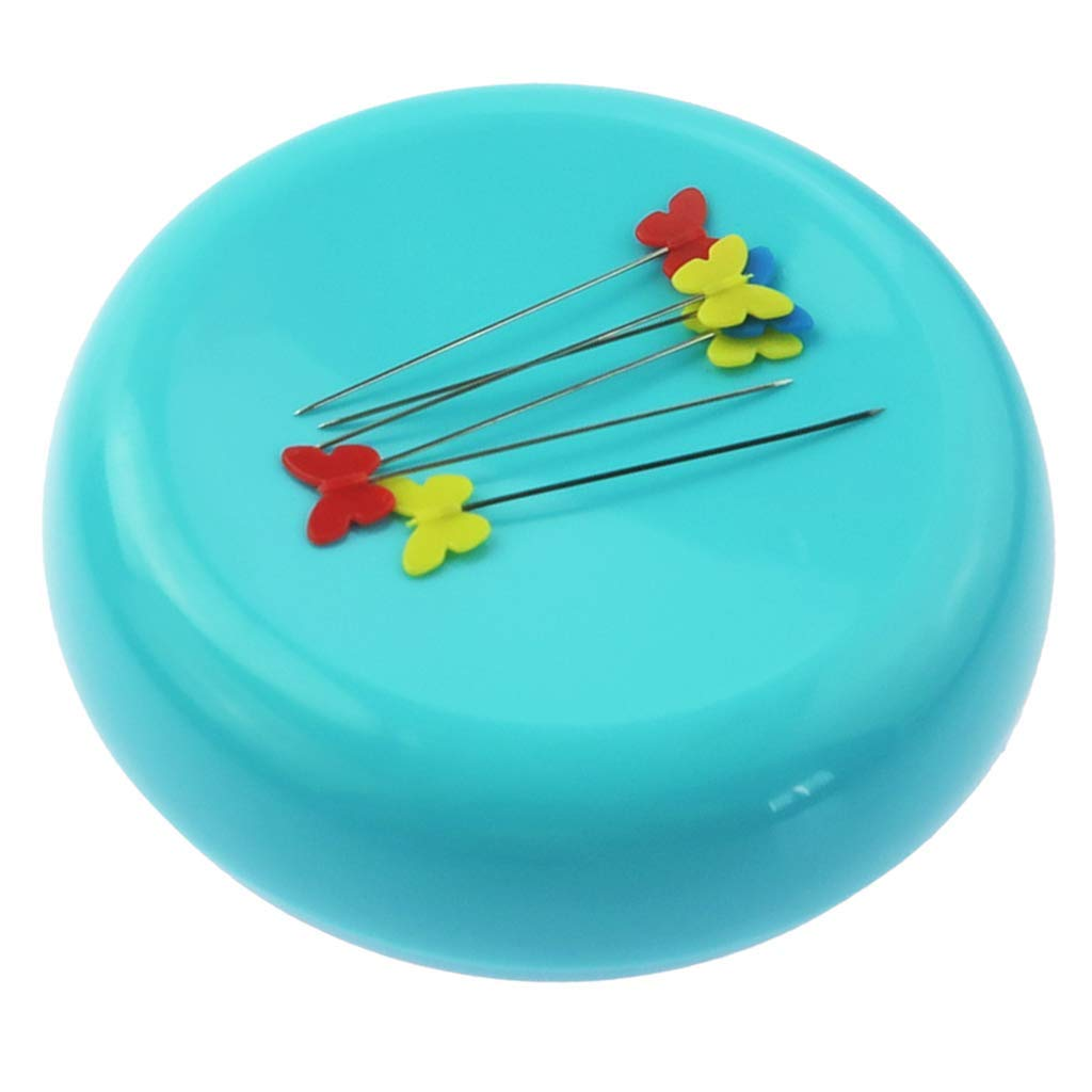 Blue Round Magnetic Pin Cushion Sewing Pin Holder Pin Caddy Storage Case Sewing Tool