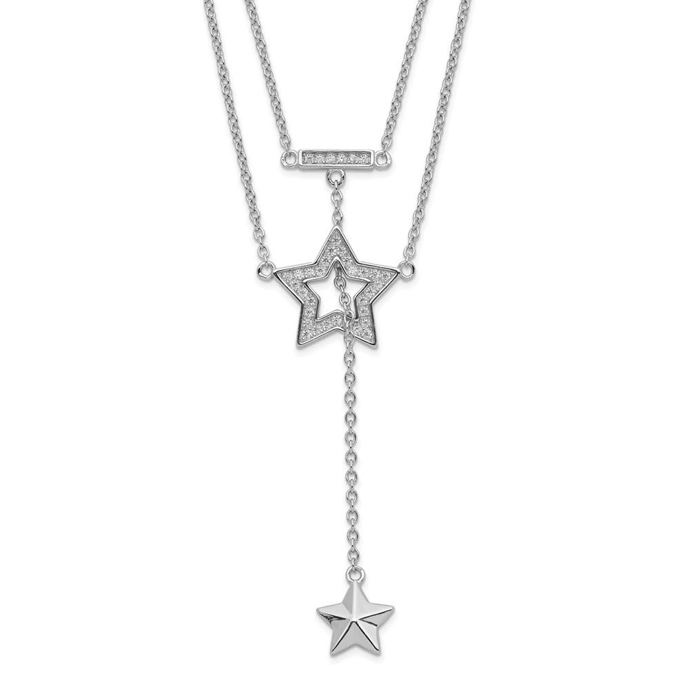 Sterling Silver Rhodium-plated 2-Strand Cubic Zirconia Star with 1in Extender Pendant Necklace