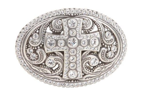 Perforated Oval Rhinestone Religious Cross & Flower Engraving Belt Buckle ()