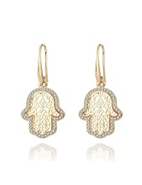 Women Dangle Earrings,Hamsa Hand Drop Earring for Girls Vintage Gold Silver Earring with CZ Crystal