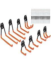 Synlyn 8pcs Garage Storage Hooks Utility dubbele haak muurhaak Multi-formaat Heavy Duty muurbevestiging gereedschapshouder voor thuis Stoel Ladder, fietsen, klapstoelen -Oranje