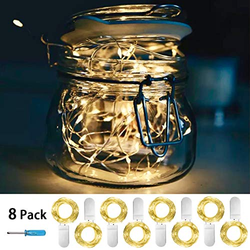 SunKite 8 Pack LED String Lights Battery Powered(Included),20 LED Starry Fairy Lights,3.3FT/1M Silver Wire,LED Firefly Lights for DIY Wedding Centerpiece,Christmas,Table,Party Decoration(Warm White)