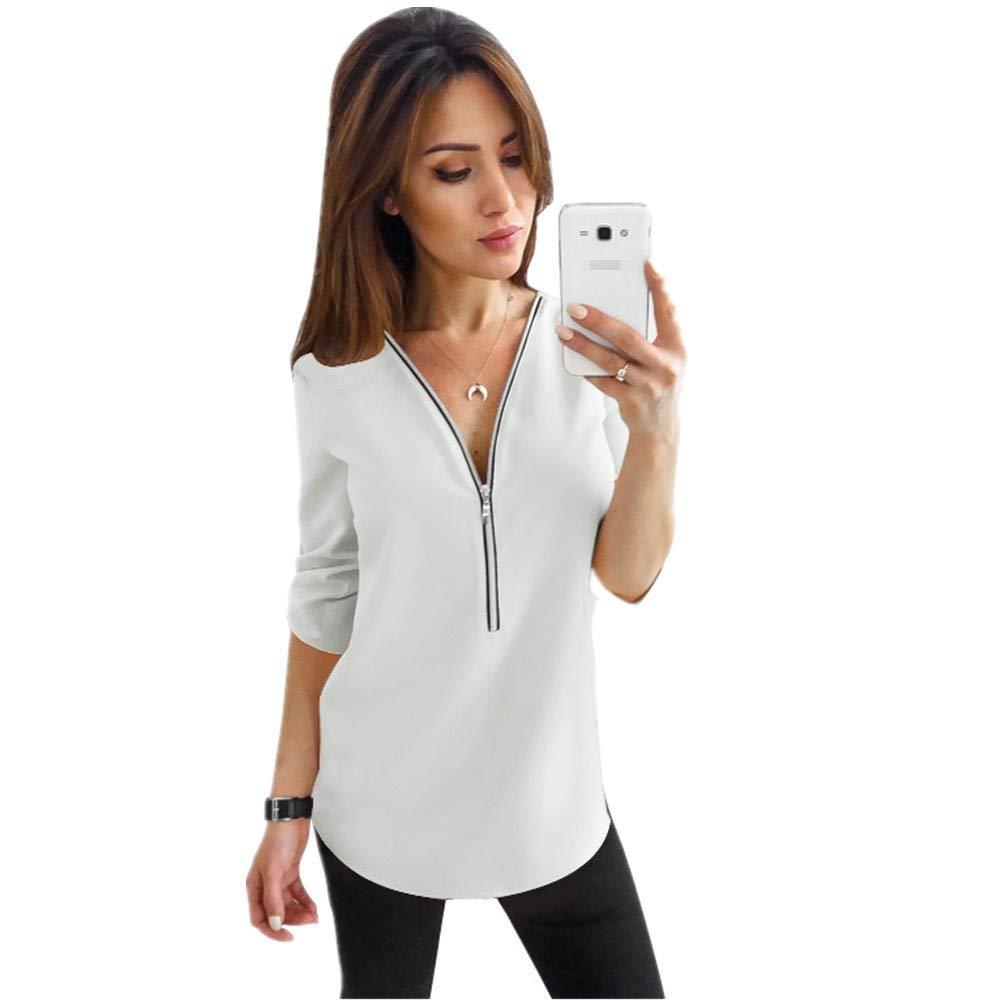 8434159875 Women's Chiffon Blouses Button Down Shirts V Neck Classic Tops and ...