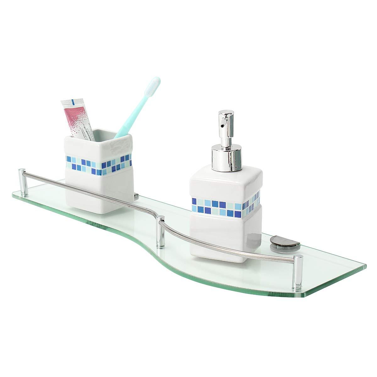 MJJEsports Cuarto De Baño Vidrio Ducha Esquina Estante Rectángulo Nivel Estante Soporte Montaje En Pared