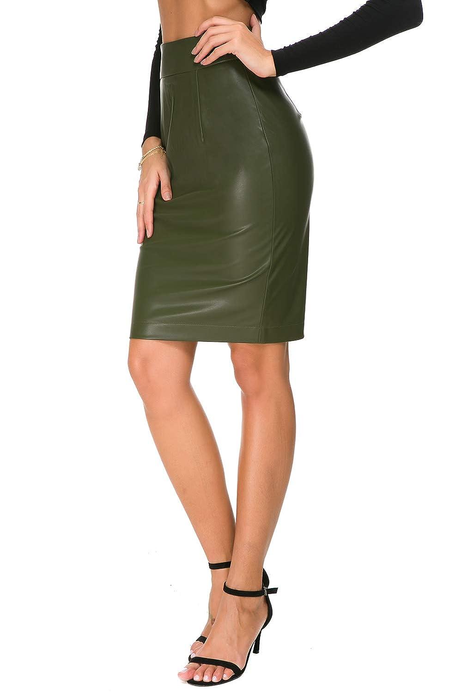 7ea3c8c6fb Amazon.com: Womens Faux Leather Pencil Skirt Slim Fit Elegant Stretch High  Waist Midi Bodycon Skirts: Clothing