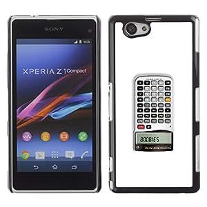 Sony Xperia Z1 Compact / Z1 Mini (Not Z1) - Metal de aluminio y de plástico duro Caja del teléfono - Negro - Calculator