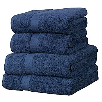 Luxor - 4 toallas para invitados - 100% algodón egipcio - Azul Marino: Amazon.es: Hogar