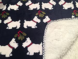 85%OFF Tommy Hilfiger Micromink Plush Pet Throw Blanket Blue with Scottie Dogs - Sherpa Fleece Lined