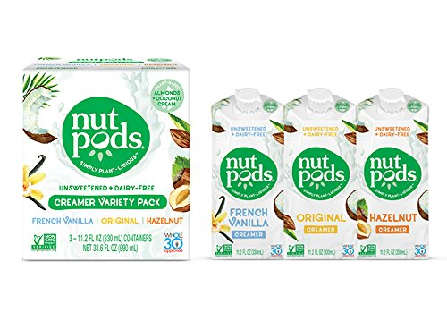 - nutpods Variety 3-Pack, Unsweetened Dairy-Free Creamer, Whole30, Paleo, Keto, Non-GMO & Vegan, for Coffee, Tea & Cooking, made from almond and coconut