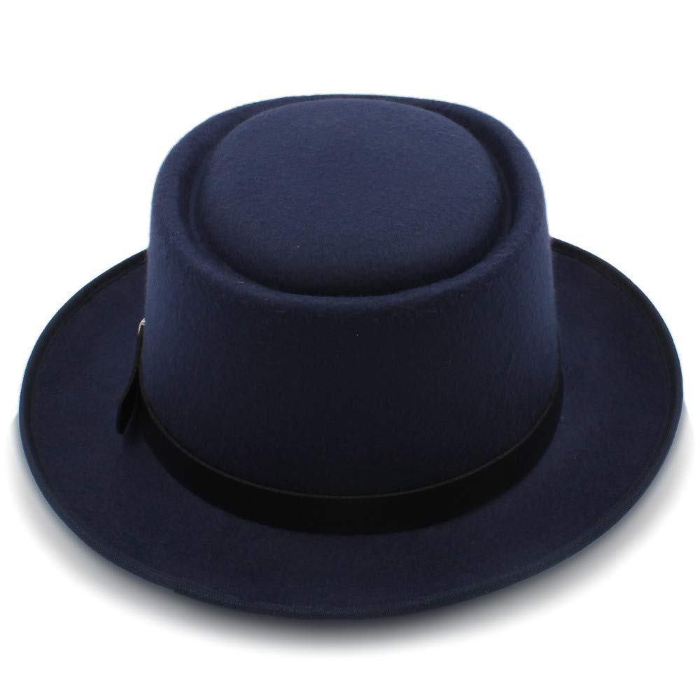 Mens Fedora Wide Brim Classic Winter Black Male Pork Pie Hat Felt Hat Very Soft
