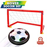 Boy Toys 5-10 Year Old, JoyJam Hover Soccer Ball Goal Set Air Soccer Football Disc Electric Soccer with 2 Gates Hovering Training Football with LED Lights Christmas Birthday Gifts CA-XFZQ Black & Gates