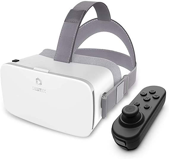 Amazon Com Destek V5 Vr Headset 110 Fov Anti Blue Light Eye Protected Hd Virtual Reality Headset W Bluetooth Controller For Iphone 11 Pro X Xr Max For Samsung S20 Note 10 9 Plus Phones W 5 5 6 8in Screen White