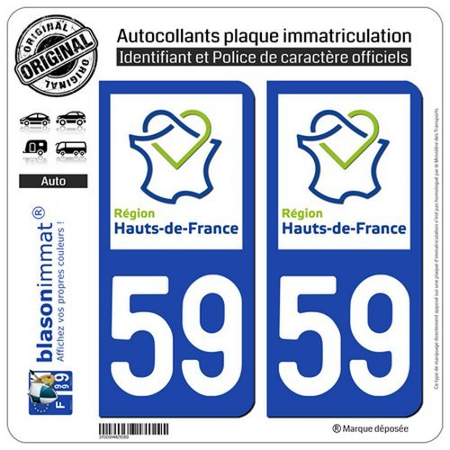 blasonimmat 2 Autocollants plaque immatriculation Auto 59 Hauts-de-France - LogoType