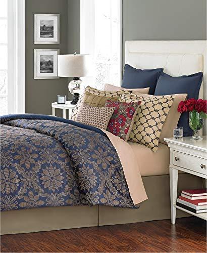 (Martha Stewart Collection Rosario 14 Piece Queen Comforter Set Navy Blue )