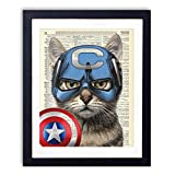 Captain Cat Superhero Upcycled Wall Art Vintage Dictionary Art Print 8x10 inches / 20.32 x 25.4 cm Unframed