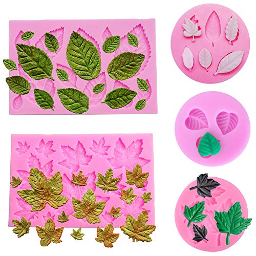 5 Pack Leaf Fondant Silicone Mold 3D Mini Maple Leaf Rose Shaped Leaves DIY Cake Mold Cupcake Decoration Tool Assorted