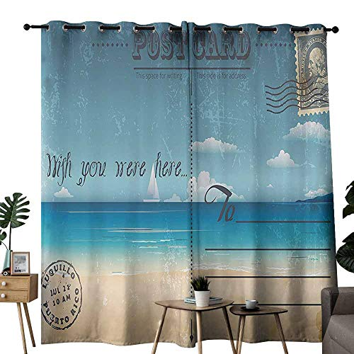 duommhome Postcard Decor Exclusive Home Curtains Nostalgic Tropical Summer Backdrop on Vintage Card Stamp Travel Print Block Most Light and Ultraviolet Light W72 xL72 Sand Brown Teal