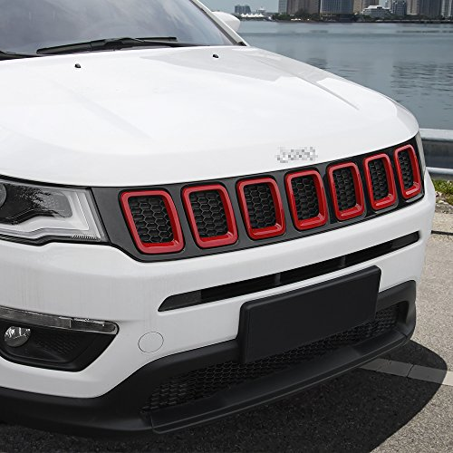 Grille Grill Cover Inserts Frame Trims Kit For 2017-2018 Jeep Compass (7pcs,Red)