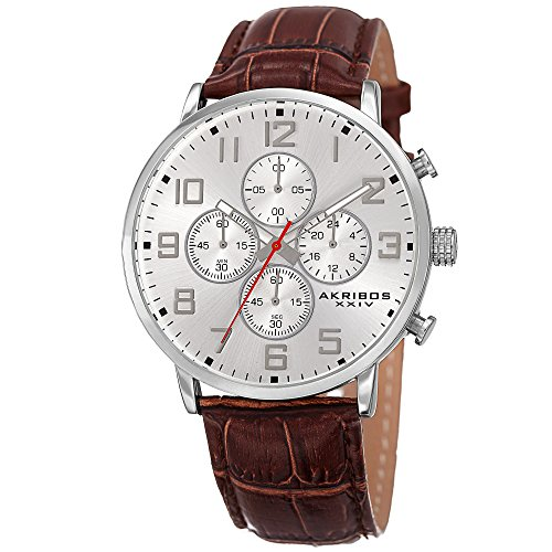 Akribos XXIV Essential Mens Casual Watch - Sunburst Effect Dial - Chronograph Quartz - Leather Strap - Silver Brown (Leather Strap Watch Effect)