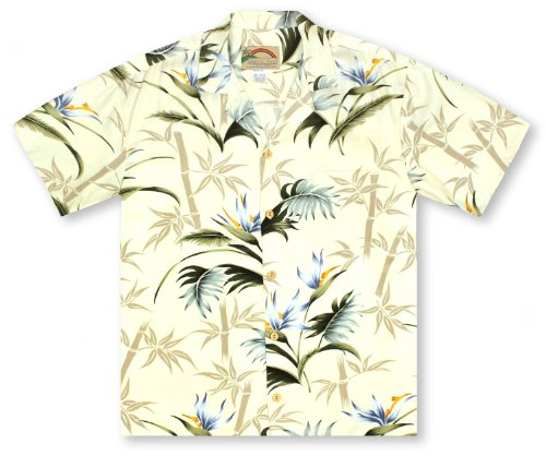 Island Paradise Hawaiian Shirt (Paradise Found Bamboo Paradise - Cream Hawaiian Shirt)