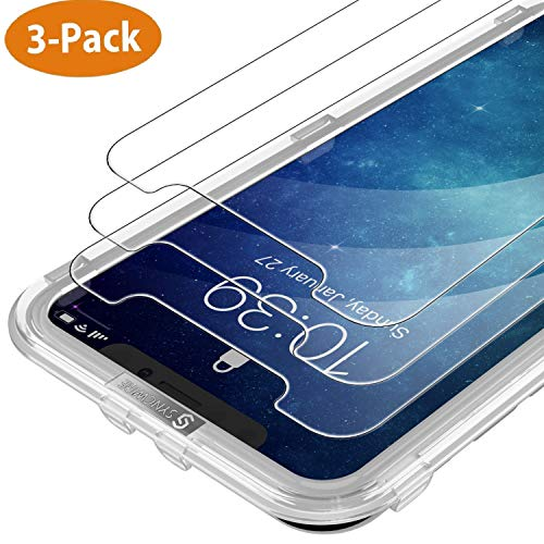 Syncwire Screen Protector for iPhone X & iPhone Xs (3-Pack), Anti-Fingerprint Tempered Glass for iPhone XS/X/10 (9H Hardness, 6X Stronger, Installation Frame, Bubble Free) [Not Edge to Edge]