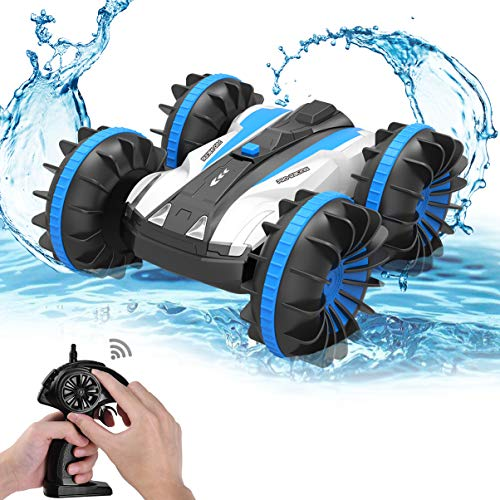 ALLCACA Waterproof Remote Control Car Boat - 2.4Ghz All Terrain RC Cars - 1/18 Scale Double Sides Stunt Vehicle with 360 Degree Spins and Flips ()