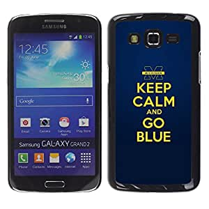 TopCaseStore / la caja del caucho duro de la cubierta de protección de la piel - Gold Yellow Keep Calm Quote Motivational - Samsung Galaxy Grand 2 SM-G7102 SM-G7105