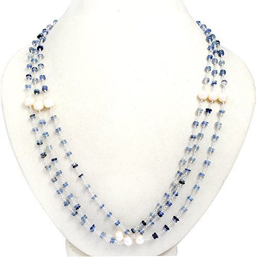Orchid Jewelry 95.80 Ct Blue Sapphire and Pearl 925 Sterling Silver Necklace for Women: Nickel Free Cute and Simple Mother and Wife Birthday Gift