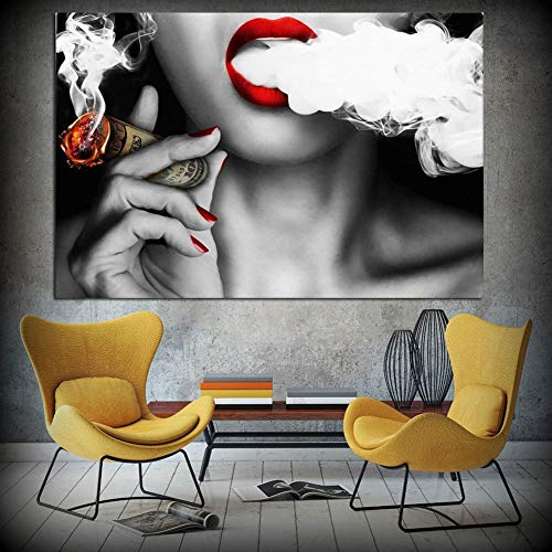 dds5391 Elegant Woman Lady Smoke Wall Painting Picture Print on Canvas Poster Home Decoration - 5070